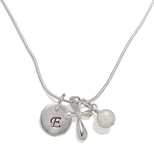 (Shiny Little Blessings Girls and Tweens .925 Sterling Silver Necklace with Cultured Pearl, Cross and Round Initial Charms, 14