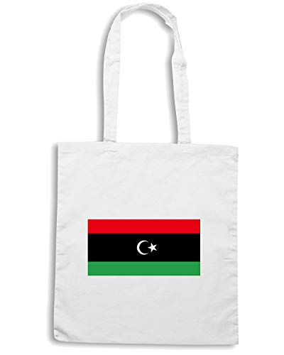 Speed Shirt Borsa Shopper Bianca TM0208 LIBYA FLAGS FLAG