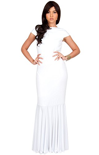 bef04b45b85 KOH KOH Womens Long Cap Short Sleeve Formal Sexy Evening Prom Cocktail  Bridesmaids Wedding Party Guest