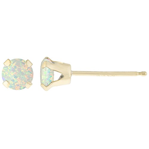 .32 CT Round 4MM Natural White Opal 14K - Natural Opal Earrings Stud