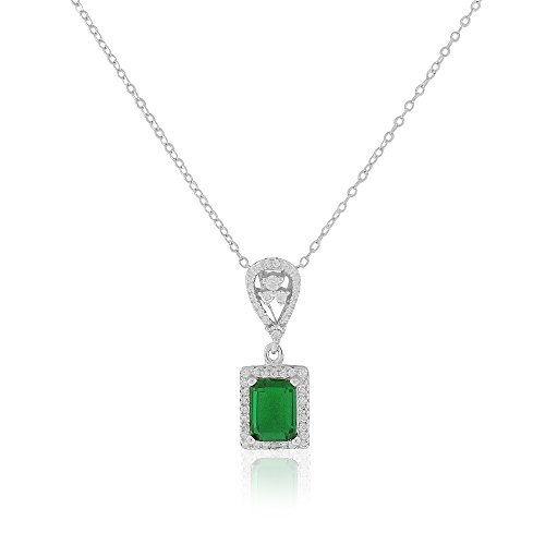 925 Sterling Silver Rectangular Teardrop Clear Green Emerald-Tone CZ Elegant Pendant Necklace, 18