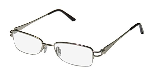 D&A Alida Womens/Ladies Prescription Ready In Style Designer Half-rim Eyeglasses/Eyewear (48-17-130, Silver)