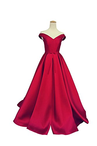 The Shoulder A-Line Evening Ball Gowns With Bow, Red, 8 (Draped Satin Dress)
