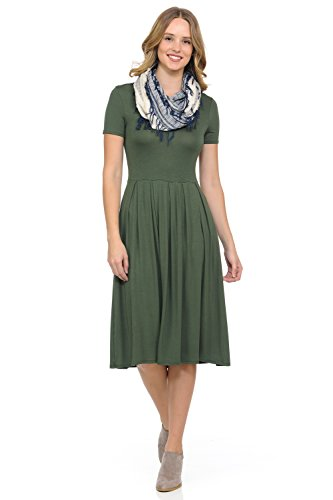 iconic luxe Women's Short Sleeve Pleated Midi Dress with Pockets Medium Olive (Dress Jersey Spandex Rayon)