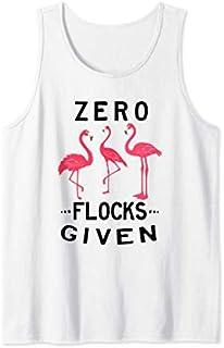 Zero Flocks Given Flamingo  Summer Beach Bird Jokes Tank Top T-shirt | Size S - 5XL