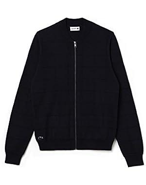 Lacoste Men's Men's Navy Zippered Cotton Cardigan in Size 7-XXL Navy