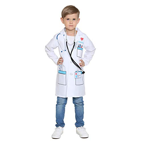Child's Doctor Costume Boys Girls Chief Surgeon Nurse Halloween Dress up (Surgeon 2-4 Year) -
