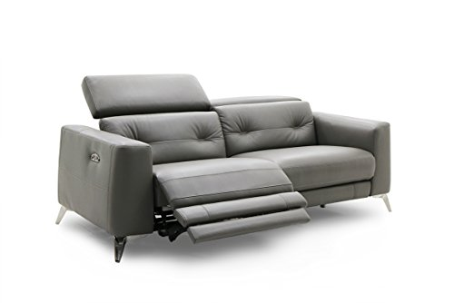 Jamie Living RS-11165-PR Lucero Leather Reclining Sofa with Power Headrest, Dark - Reclining Contemporary Sofa