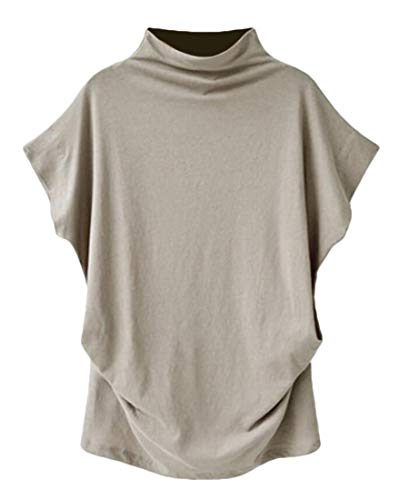 Mock Sleeve Turtleneck Short Golf (GAGA Women Mock Neck Blouse Solid Short Sleeve T-Shirt Turtleneck Plain Shirt Light Grey S)