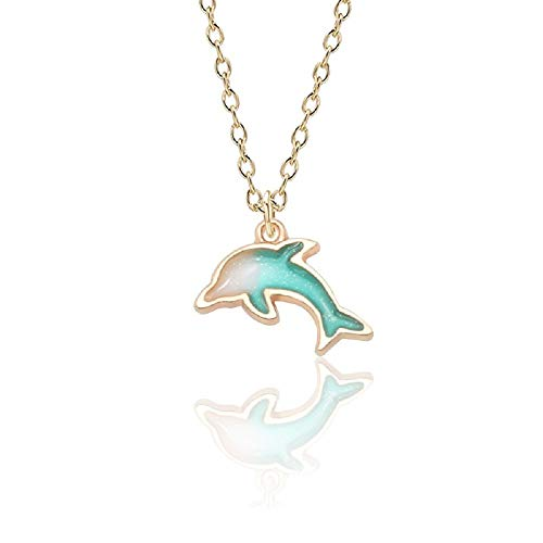 - MUYUN Gold Colorful Enamel Dolphin Necklace Animal Alloy Pendant Beautiful Cartoon Jewelry (Blue)