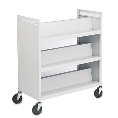 Buddy Products Slant Shelf Library Cart, Steel, 18 x 42 x 37 Inches, Platinum, (5416-32) by Buddy Products