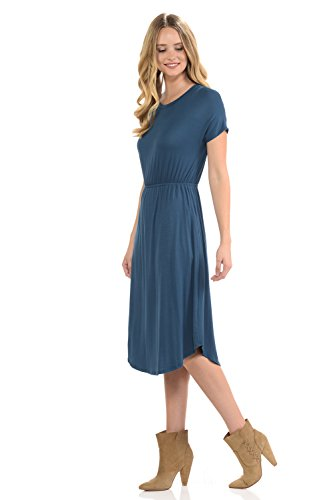 Pockets luxe Denim Floral in Flare Women's Solid Short Sleeve USA in iconic Made Midi Dress gAq0q