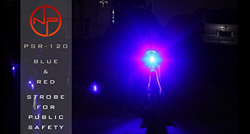 Night Provision 2 Color LED Bike Light: DUO 120 Red/White Strobe PSR 120 Police Patrol Red/Blue Strobe Alternating 120 Lumens MAX