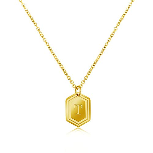Gold Initial Necklaces for Women Girls, 14K Gold Plated Letter Pendant Necklaces Initial Layered Gold Necklaces for Women-T