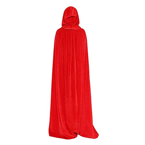 Bartz Full Length Hooded Cloak Velvet Cape for Christmas Halloween Cosplay Costumes Medieval Rope