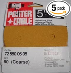 5-Pack PORTER-CABLE 725500605 5-Inch 5-Hole Adhesive Backed 60 Grit Sanding Discs