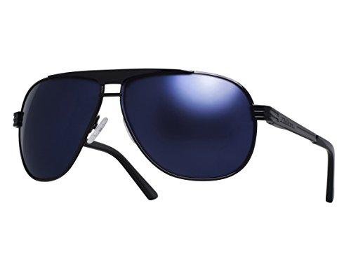 Dillon Optics Kyle Sunglasses Polarized (Shiny Black, Blue - Dillon Sunglasses