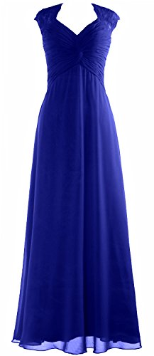 Women Formal Party MACloth Sleeve Blue Chiffon Gown Dress Cap Long Royal Lace Prom Wedding CqdzS4wq
