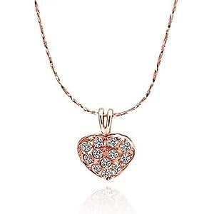 collar en forma de corazón exquisito 18KRGP de primera calidad