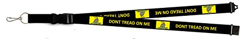 - ALBATROS 32ft Black Gadsden Donint Tread on Me Printed Lanyard with Detachable Key Ring for Home and Parades, Official Party, All Weather Indoors Outdoors