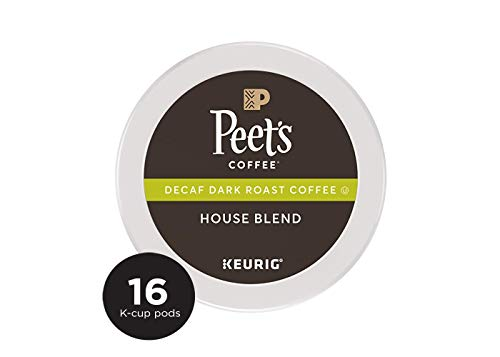 Peet's Coffee Decaf House Blend Dark Roast Coffee K-Cup Coffee Pods (16 Count) Decaffeinated ()