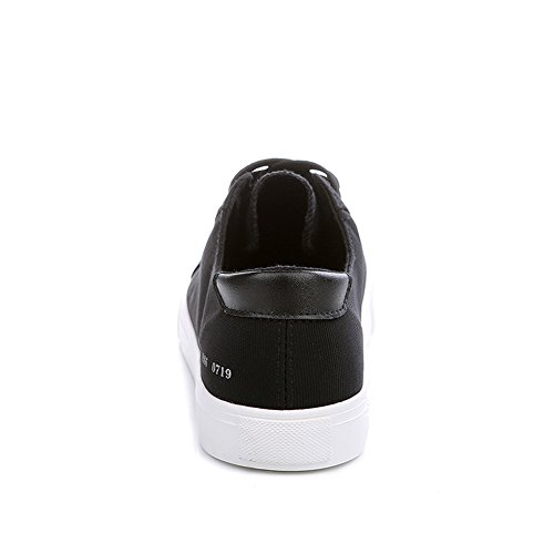 Aisun Damen Flach Canvas Low Top Schnürsenkel Slipper Sneakers Schwarz