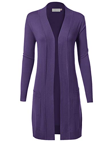 Crochet Collar Knit - MAYSIX APPAREL Womens Long Sleeve Long Line Knit Sweater Open Front Cardigan W/Pocket Ultraviolet L