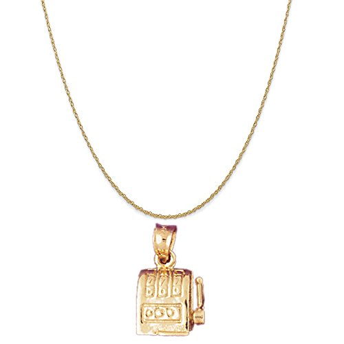 14k Yellow Gold Slot Machine Pendant on a 14K Yellow Gold Rope Chain Necklace, 18