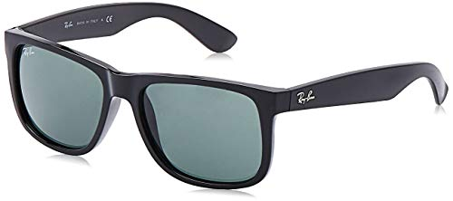 Ray-Ban RB4165 Justin Rectangular Sunglasses, Black/Green, 55 mm