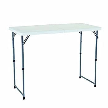 Lifetime 4428 Height Adjustable Folding Utility Table, 48 By 24 Inches, White Granite 11