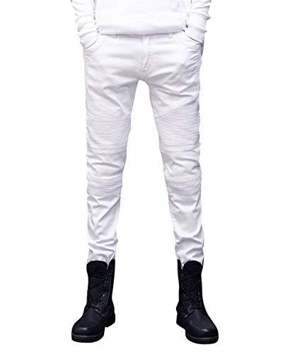 Size color Da Bianca Fit Denim Casual Semplice Con Stile Motociclista Taglio waist81cm Slim Uomo 32 Strappati Pantaloni Jeans Destrutturato HqxwZ6a6