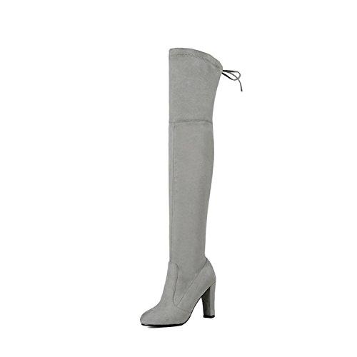 (Dormery Women Over The Knee Boots Sexy PU Leather Square High Heel Women Shoes Winter Warm Motorcycle Boots Size 34-43 Light Grey 12)