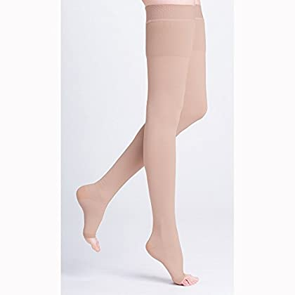 Image of 500 Natural Rubber 40-50 mmHg Open Toe Unisex Thigh High Sock with Grip-Top Size: M4