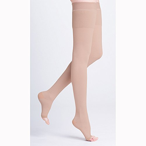 500 Natural Rubber 40-50 mmHg Open Toe Unisex Thigh High Sock with Waist Attachment Size: M4, Leg: Left