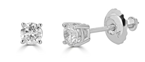AGS Certified 14k White Gold Round-Cut Diamond Stud Earrings (1/2cttw, K-L Color, I1-I2 Clarity)