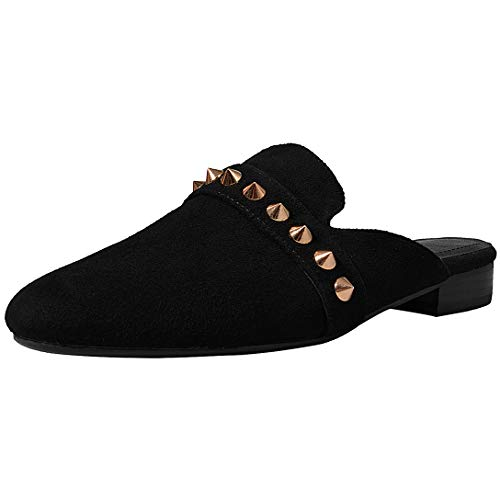 Comfity Mules for Women,Womens Leather Slip On Mule Flats Embroidery Backless Loafers Slippers Shoes Suede Studded Rockstud Black Size 8