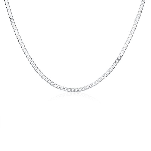 DUANMEINAD Men's 4mm Solid Sterling Silver .925 Curb Link Chain Necklace Diamond-Cut Cuban Curb Chain Necklace All Sizes 16