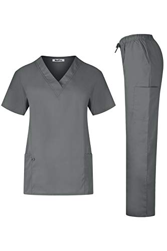 MedPro Women's Solid Medical Scrub Set V-Neck Top and Cargo Pants Steel Gray S