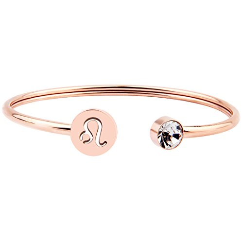 Zuo Bao Simple Rose Gold Zodiac Sign Cuff Bracelet with Birthstone Birthday Gift for Women Girls (Leo) ()
