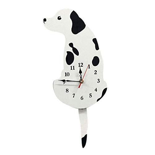 FRECI Acrylic Puppy Dog Wall Clock Tail Wag Swing Clock Home Decor Props Craft, Silent Sweep, Battery Powered - White