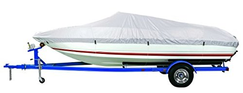 "GOODSMANN 150 Denier boat cover, Silvery gray,water resistant,weather protection,trailerable,9921-0121-14 (D Fits 17'-19' V-Hull Boats, Beam width to 96"")"