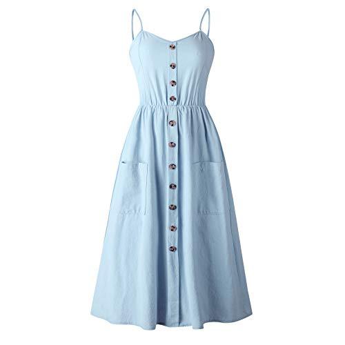 Women's Sleeveless Adjustable Strappy Flared Midi Skater Dress Blue M