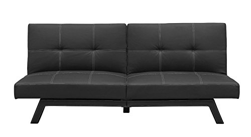 Sofa Futon Bed Reclining Sleeper Living Room Furniture Leather Modern Couch Contemporary Black Settee Armless