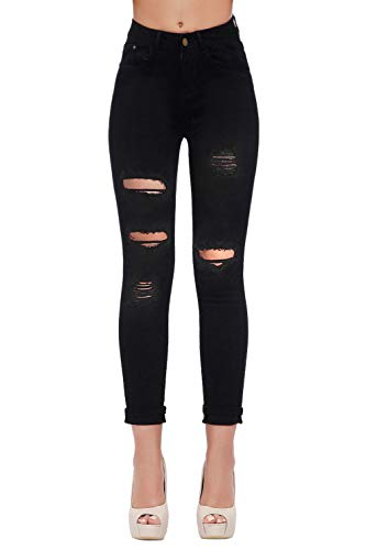 Women's Hight Waisted Butt Lift Stretch Ripped Skinny Jeans Distressed Denim Pants(US 6, Black 15)