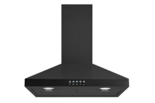 Winflo New 30″ Convertible Black Color Wall Mount Range Hood with Aluminum Mesh filter, Ultra bright LED lights and Push Button 3 Speed Control