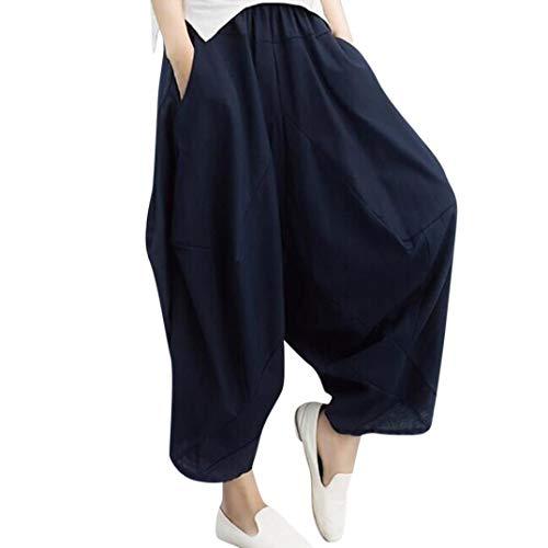 iYBUIA Women Casual Solid Mid Waist Oversize Wide Leg Harem Pants Loose Vintage Cotton Linen Trouser Pants(Navy,L) ()
