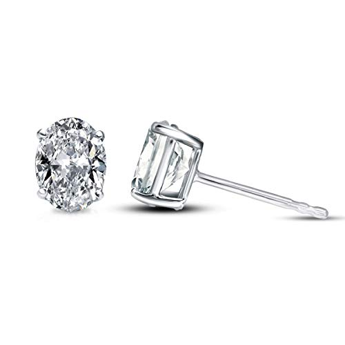100% Real Diamond Earrings 1/4 Ct Made in USA IGI Certified Oval Diamond Solitaire Stud Earrings For Women Lab Grown Diamond Earrings 14K FG-SI1-SI2 Quality Gold Real Diamond Earrings For Women ()
