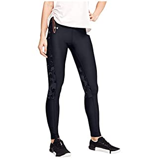 Under Armour Heatgear Armor Camo Jaqard Inset Leggings, Black (001)/Jet Gray, Large