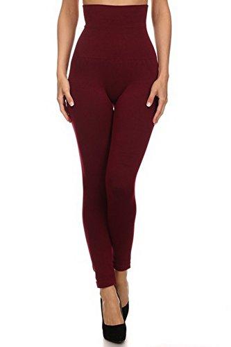 [Belle Donne- Women's High Waist Compression non-Fleece / Stylish Leggings - Wine] (Bella Opaque Tights)