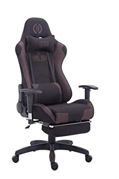 CLP Silla Gaming Turbo Tapizado de Tela I Silla Gamer Giratoria I Silla Racing Regulable en Altura I Silla Oficina con Reposapiés I Color: Negro/marrón: ...
